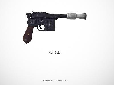 Han Solo - Famous Guns famous guns federico mauro gun pistols movie cinema minimal iconic star wars