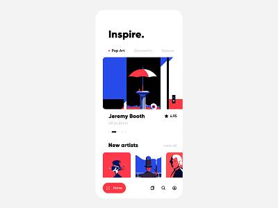 Art Inspiration figma freebie mobile clean ui white red blue clean portfolio social iphone ux ui ios illustration interface app