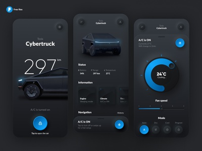 Tesla Smart App skeumorph neumorph neumorphism product cybertruck smart home iphone mobile black car smart app smart tesla dark theme skeumorphism skeuomorph neomorphism interface ios app