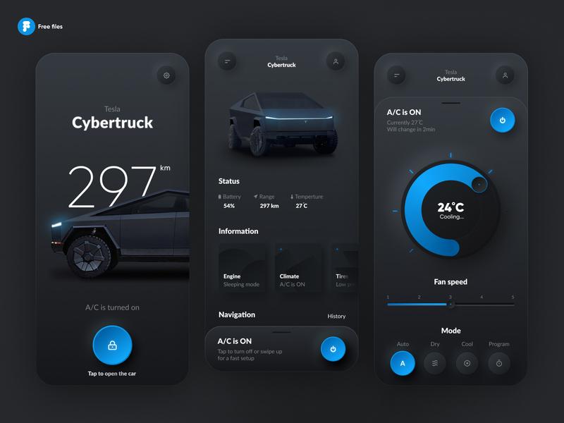 Tesla Smart App skeumorph neumorph neumorphism product cybertruck smart home iphone mobile black car smart app smart tesla dark theme skeumorphism skeuomorph neomorphism interface ios app