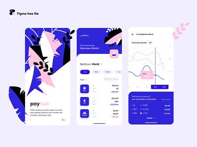 Payhub Financial minimalist clean finance analitycs figma freebie payment money financial mobile iphone ios illustration app ux interface ui