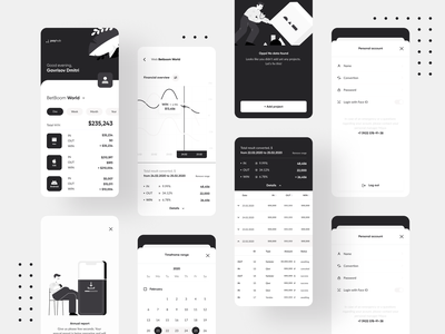 Payhub Financial App black and white black  white charts table finance finances graphs chart analytics payment figma typography iphone ios ux interface mobile app ui