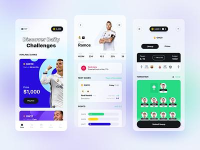 Football manager mobile app player profile dashboard interface sport footbal gambling soccer manager betting bet football ios app ux mobile product design ui