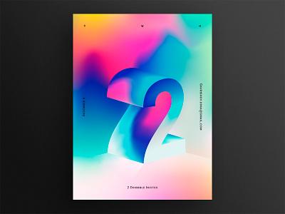 2 Dribbble invites vector design 3d color clean invite gradient invites daily poster illustration