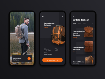 Augmented Reality Product Recognition reality virtual list interace product card catalogue product bags backpack mobile scanning camera augmented ar iphone ios design clean app ui