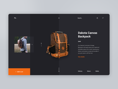 Product Page product design concept reality backpack shop site e-comerce ecommerce website interface ux web clean ui