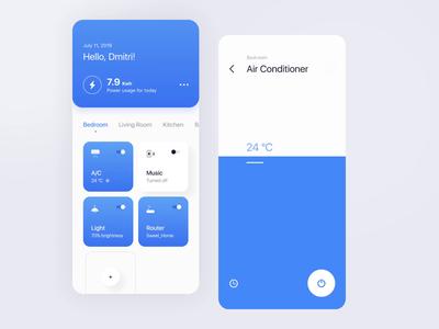Minimalistic  A/C control figmadesign figma white blue smart home smarthome iphone ios interface ux app design clean ui