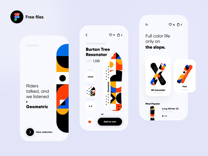 the slope. mobile product shop e-commerce app e-comerce geometric illustration boards winter sports snowboard geometric art white pattern geometrical geometric iphone ios app interface ux clean