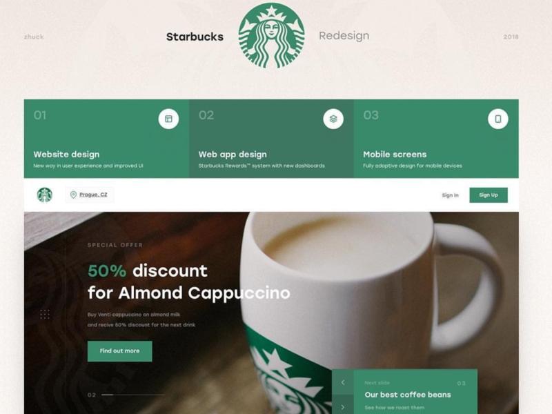 Starbucks Landing Page website concept web app modern design modern minimal design dailyui clean ui website design webdesign web design website web