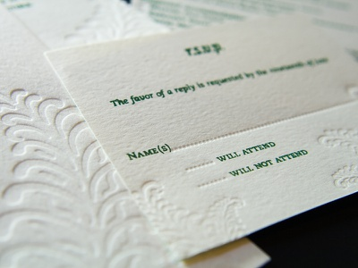 Letterpressed RSVP wedding invitation letterpress fern