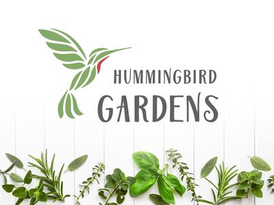 Hummingbird Gardens Logo local basil hummingbird organic garden logo design