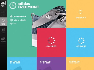 King of Trainers - Product Launch Countdown colourful sneakers landing page web design colour collective clean colour store ui sports brand footwear product landing retail social side nav countdown loading coming soon product launch