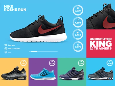 King of Trainers - Product Launch with Social Integration footwear product retail king of trainers colourful social buttons sports brand clean landing page product landing page store colour web design social integration 360 degree product landing ui social campaign social product launch