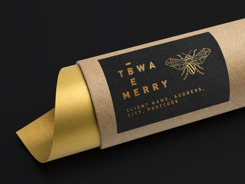 TBWA\ Bee Merry - Christmas Concept client label gift giftpack send out black gold package design package mockup concept bee logo christmas gift packaging wine box box wine bee bee merry