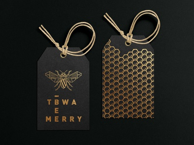 TBWA\ Bee Merry - Christmas Concept gold concept christmas gift box client package gift label design bee merry branding design logo bee logo beehive bee black gold foil gold ink labels