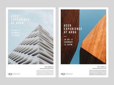 AKQA Insights - Poster Designs layoutdesign layout internal event poster event type minimal art minimal architecture photography graphic design poster art poster design typography clean