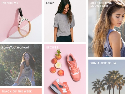 Pink Soda Sport - Landing Page female focused sports brand retail social instagram pastel colours pastel photography imagery clean tiles square landing page