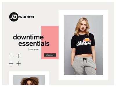 JD Women - Landing Page Design fashion layout design women fashion womens product graphic design colour store photography clean social sports brand retail design landing page