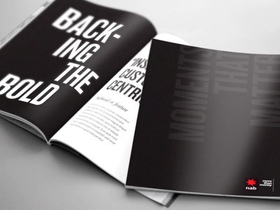 NAB - Moments That Matter Booklet Design bold design bold font magazine pitch print design bold type typography black and white layout design print layout leave behind booklet graphic design