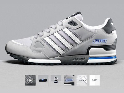 JD Sports - Product Image with 360 Feature product page 360 video thumbnails footwear campaign image product image product web design photography landing page sports brand graphic design ui design clean retail
