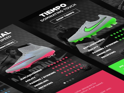 Nike Football Boot - App Activation landing page mobile guide sizing boots nike user interaction application design activation app activation app sports brand footwear graphic design ui retail design clean