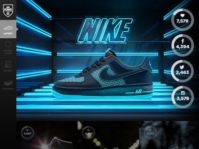King of Trainers - Product Launch with Social Integration social campaign side navigation side nav social integration social buttons store product launch product social web design photography footwear sports brand landing page ui graphic design design retail clean