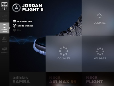King of Trainers - Product Launch Page Side Navigation
