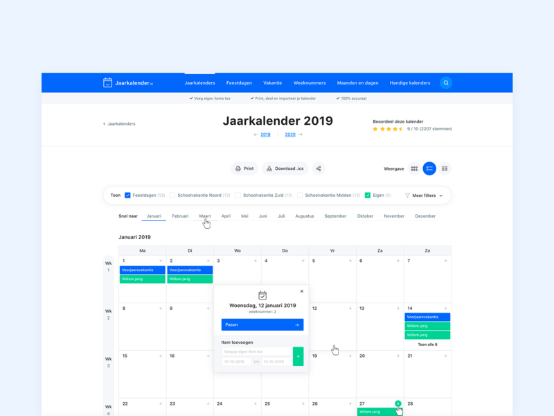 Online concept jaarkalender.nl web ux site clean flat design webdesign website uidesigns ui app design tool view calendar wordpress application