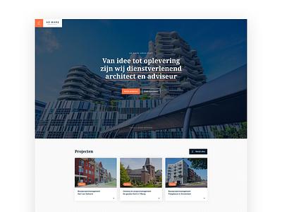 Website Architect flat vector design branding concept websites webdesigns white red orange clean architecture website webdesign architect