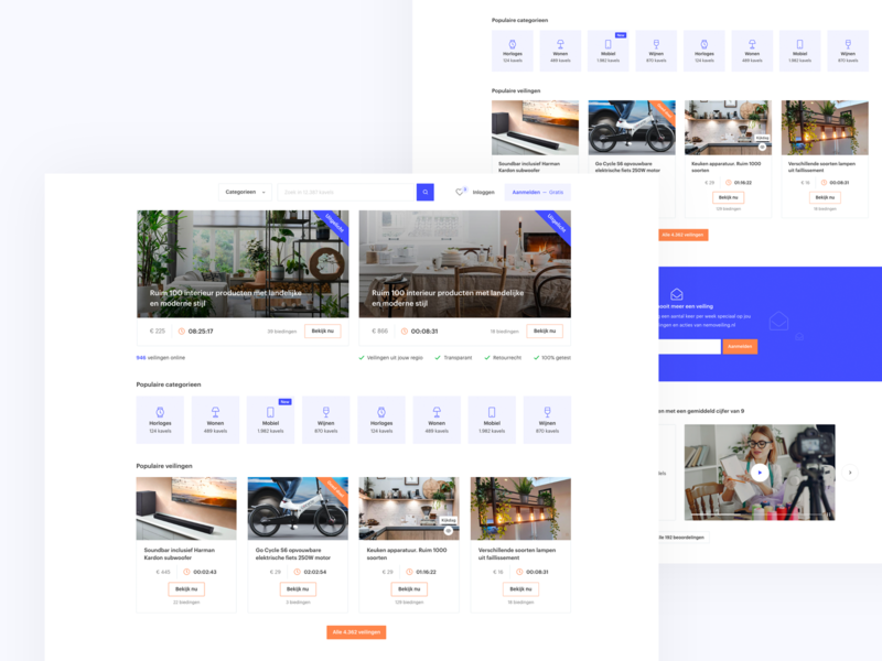 Auction website (first concept) 🔥 ui design interface white purple clean flat free branding responsive webdesign web uidesign design playground website auction