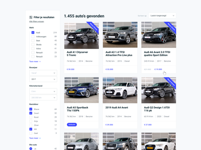Automotive 🚗 - Occasion page flat site occasions vector blue and white blue filter audi cars automotive logo e-commerce clean design webdesign automotive design cardealer automotive occasion