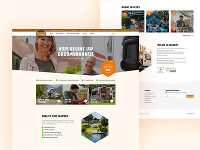 Camper website (new style) site clean design ux uiux ui clean ui site design websites travel vacation brown about us news orange website campers camper