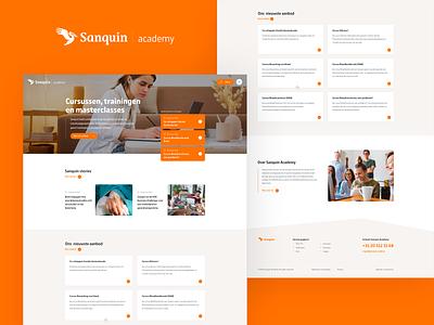 Sanquin Academy design training business company orange uiux branding responsive web webdesign website ux flat site ui clean design