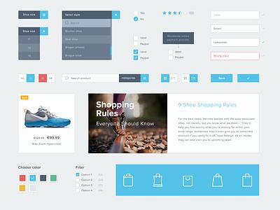 Freebie: Free UI Kit (PSD) clean e-commerce shop navigation button interface icons psd ui kit freebie free