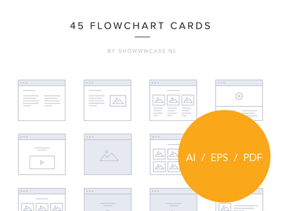 45 vector flowchart cards