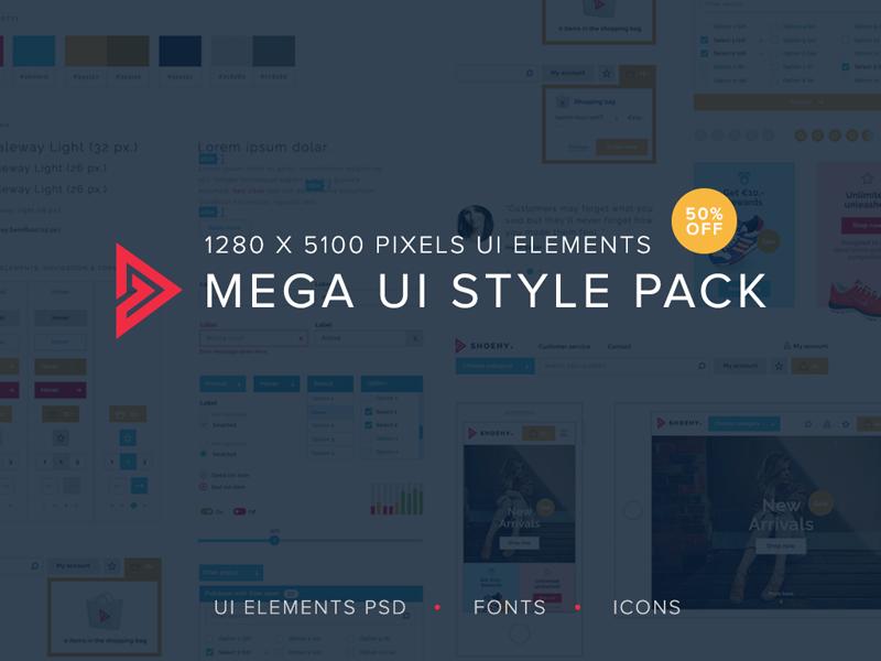 Freebie: Mega UI style pack bundle pack freebie free elements style ui psd ui elements ui kit ui
