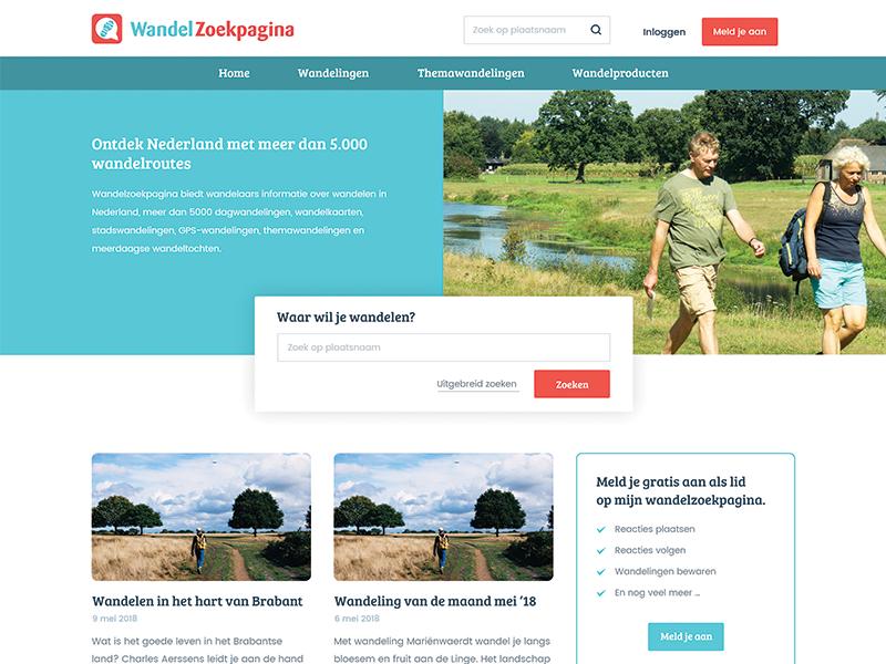 Large site for hiking trails webdesign website design login account blog news header search page site walk