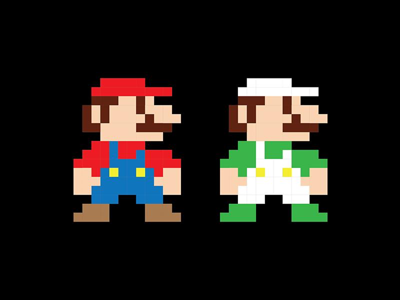 Super Mario & Luigi Illustration (pixels) luigi gif character fan art print pixels app old illustration super mario