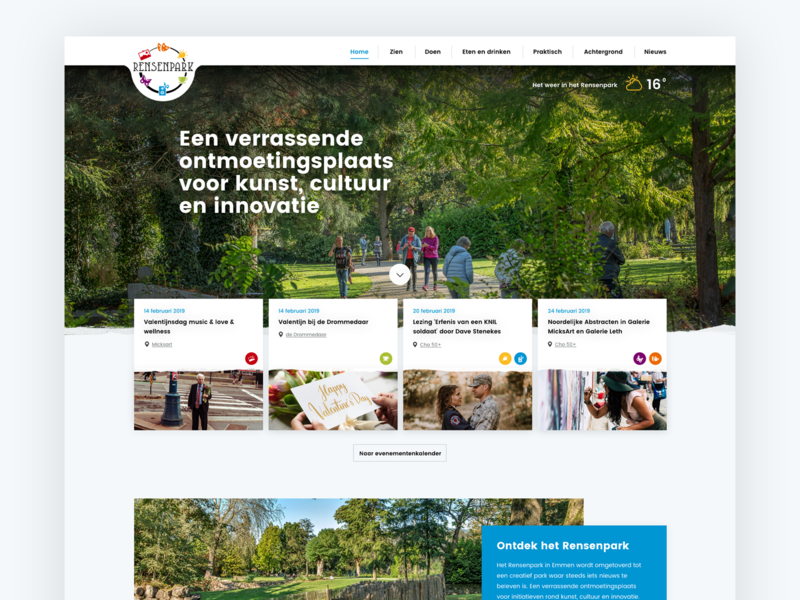 First web-concept Rensenpark Emmen lettering logo vector illustration animation color layout identity typography branding web responsive webdesign site clean website ux flat ui design
