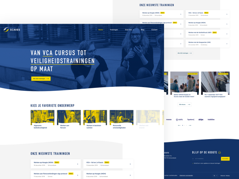 Training (courses) website playground website ux ui flat clean duotone designer wordpress webdesign site yellow blue courses training design