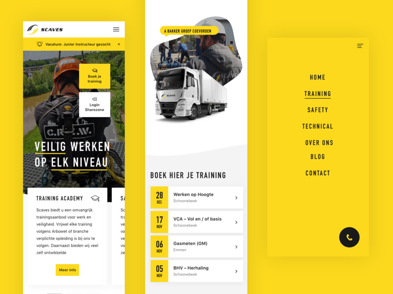 Mobile (re-)design flat site ui design mobile app responsive website safety training color black clean yellow app mobile ui redesign responsive mobile