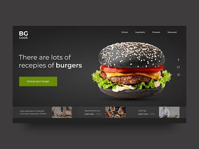 Burger cook burger restaurant cafe layout website ux web ui type typography minimal design science design