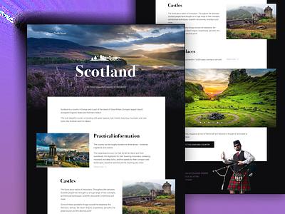 Scotland scotland travel layout website web ux ui typography type minimal design science design