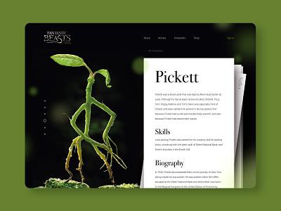 Pickett movie fantastic beats monster layout website web ux ui typography type minimal design science design