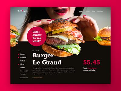 Burger Le  Grand restaurant burger layout web website ux ui typography type minimal design science design