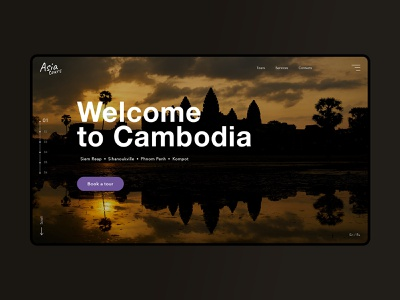 Welcome to cambodia travel layout website web ux ui typography type minimal design science design