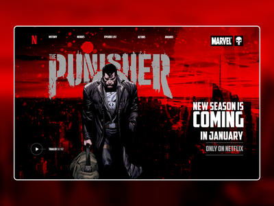 """Concept screen for """"The Punisher"""" series comics comic art layout website web ux ui typography type minimal design science design"""