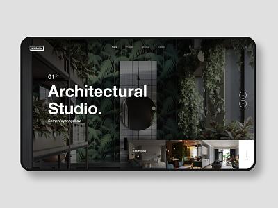 Architectural studio cafe layout website web ux ui typography type minimal design science design