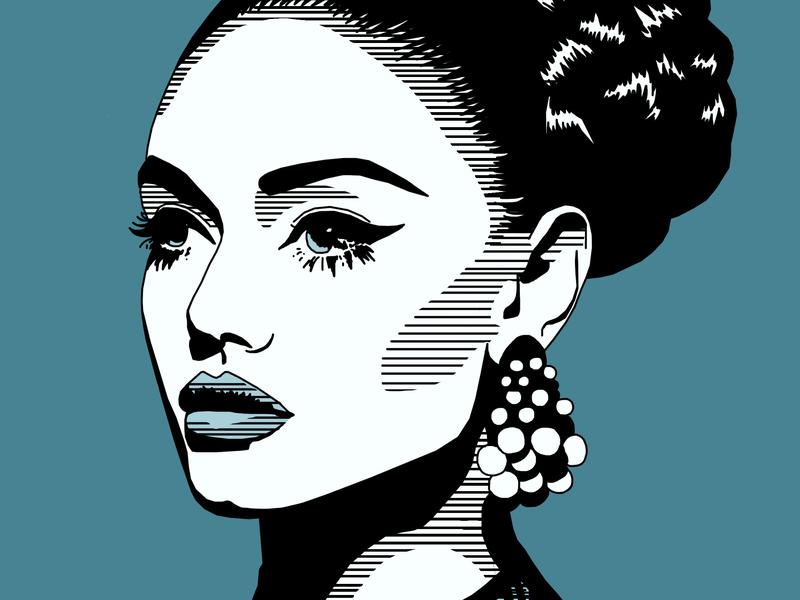 Portrait fashion illustration blue artwork fashion illustration portrait
