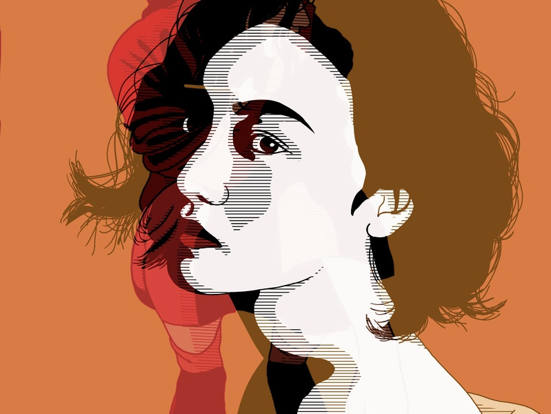 Empathy orange fashion portrait fashion illustration artwork illustration